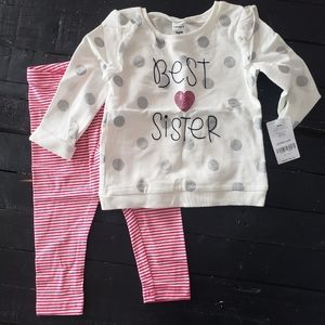 Carters Best Sister Outfit Set Pink White Silver